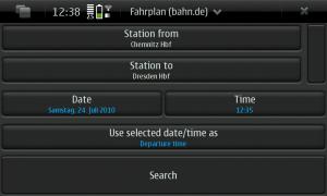 Fahrplan-Applikation am N900