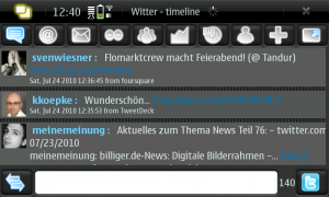 Twitter-Applikations namens Witter am N900