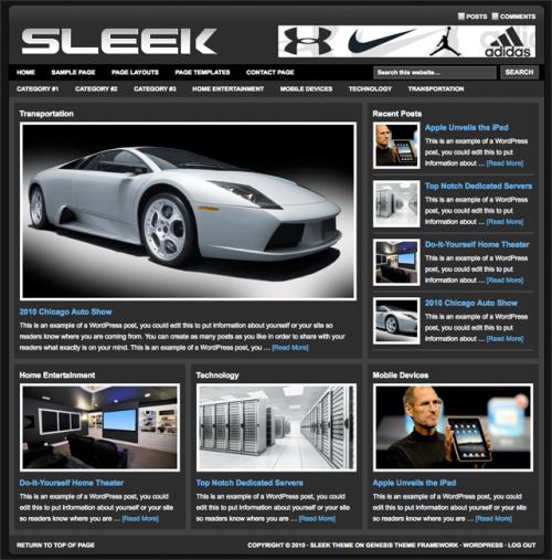 Bildschirmfoto des Sleek Theme für Genesis von StudioPress - dunkler Stil