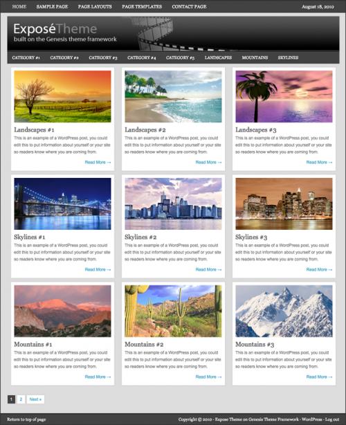 Bildschirmfoto des Expose Theme für Genesis von StudioPress