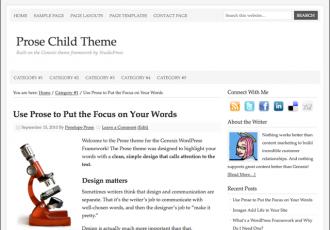 Bildschirmfoto des Prose Designer Theme für Genesis von StudioPress