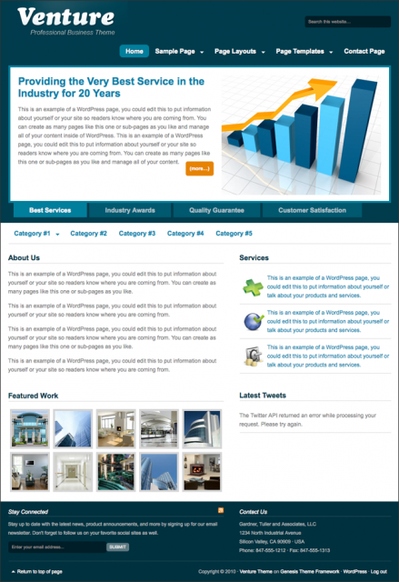 Bildschirmfoto des Venture Theme für Genesis von StudioPress