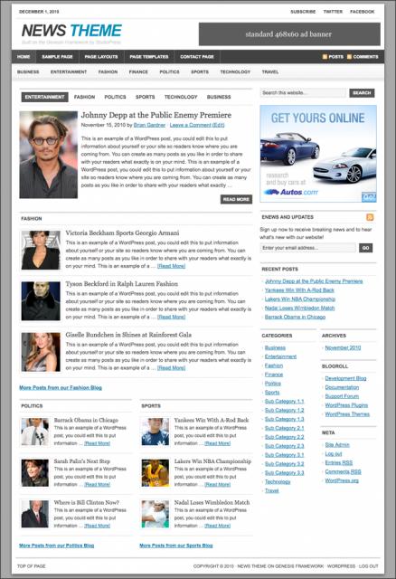 Bildschirmfoto des News 1.1 Theme für Genesis von StudioPress