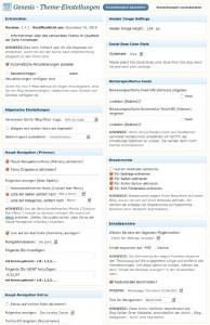 Bildschirmfoto: Auszug aus den Framework-Einstellungen von Genesis