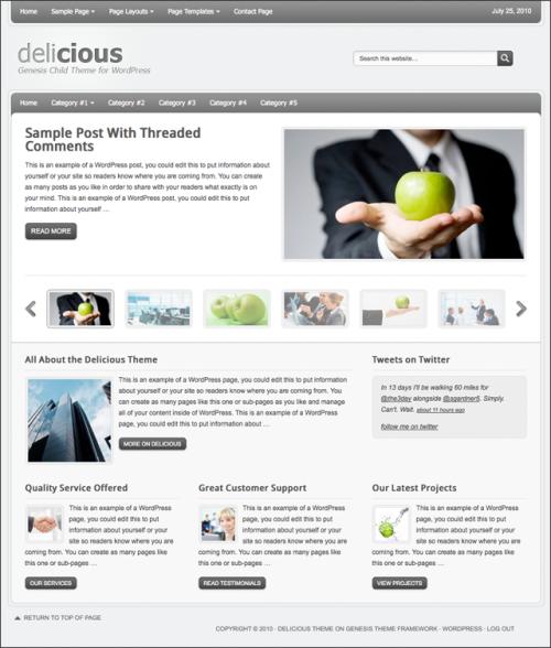 Bildschirmfoto des Delicious Theme für Genesis von StudioPress - hier mit grauer Farbvariante (Standard)