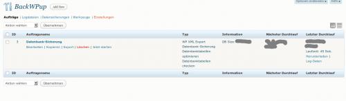 BackWPup - die Auftragsübersicht - zentrale Schaltstelle des Plugins