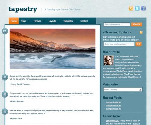 Bildschirmfoto des Tapestry Theme für Genesis von StudioPress