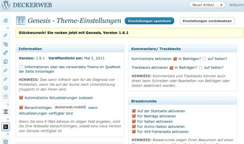 Genesis Framework für WordPress, Version 1.6 (Bildschirmfoto)