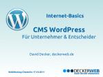 6. Chemnitzer WebMontag - DECKERWEB referierte zum CMS WordPress