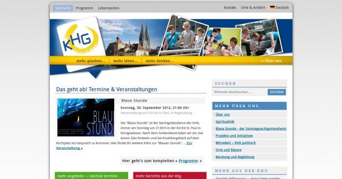Katholische Hochschulgemeinde Regensburg -- Bildschirmfoto: khg-regensburg.de