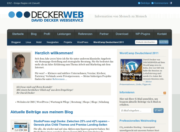 DECKERWEB.de, Version 2010 -- Bildschirmfoto: deckerweb.de