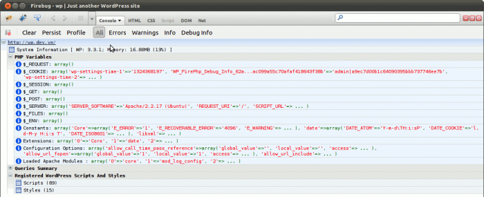 Eine Ausgabe des Plugins in der Firebug-/ FirePHP-Konsole in Firefox (Original Plugin-Screenshot)