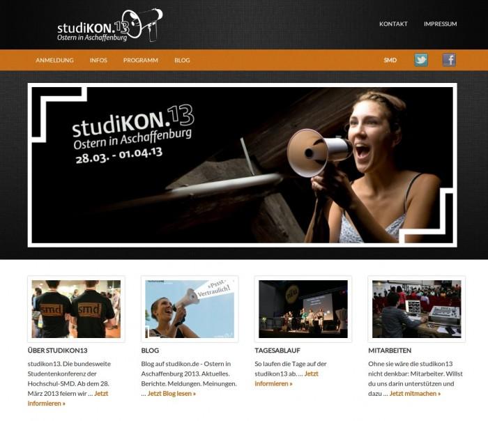 studikon13 / Hochschul-SMD Deutschlands -- Bildschirmfoto: studikon.de